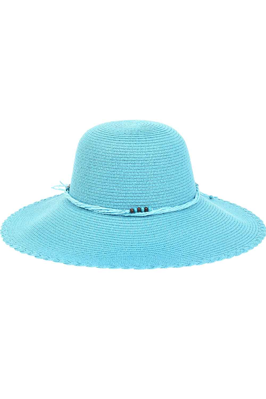 MIZALLE Straw Beach Hat (Turquoise) (1)