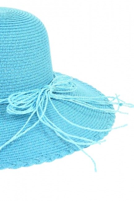 Straw Beach Hat (Turquoise) - Thumbnail