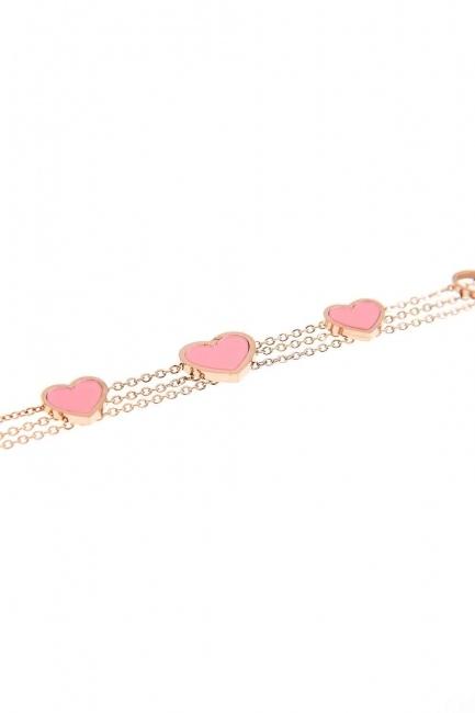 MIZALLE Heart Steel Bracelet (Pink)