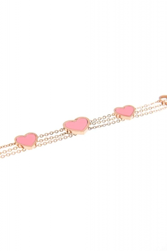 Heart Steel Bracelet (Pink)