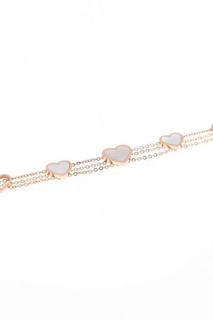 MIZALLE Heart Steel Bracelet (White)