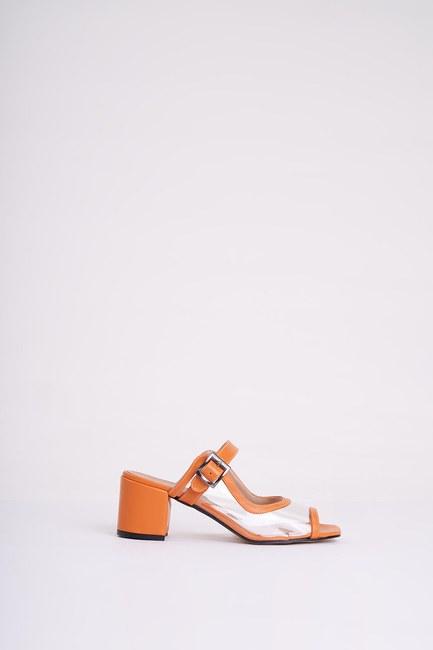 MIZALLE - Heeled Transparent Slippers (Orange) (1)