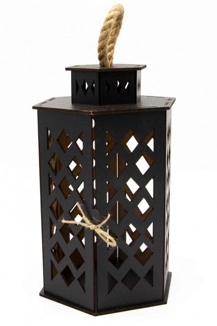 MIZALLE HOME - Hexagonal Shape Wooden Lantern (Black) (1)