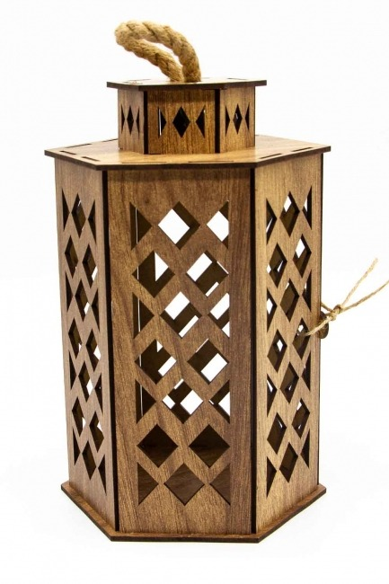 Hexagonal Shape Wooden Lantern (Cream) - Thumbnail