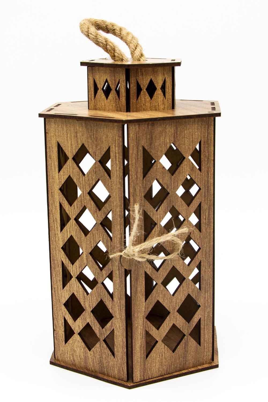 MIZALLE HOME Hexagonal Shape Wooden Lantern (Cream) (1)