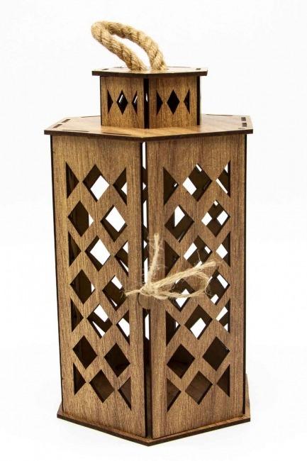 Hexagonal Shape Wooden Lantern (Cream) - Thumbnail