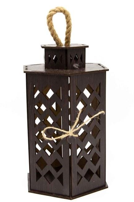 MIZALLE HOME - Hexagonal Shape Wooden Lantern (Wenge) (1)