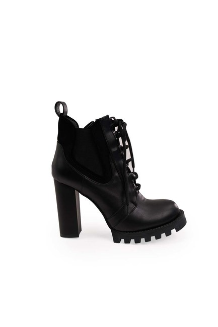 MIZALLE - High Heeled Postal Boots (Black) (1)