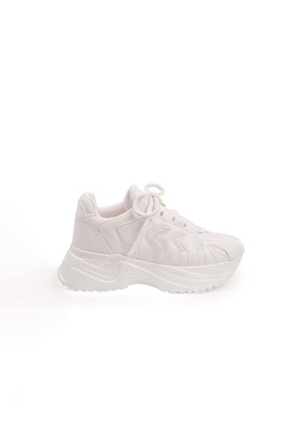 MIZALLE - High Sole Sport Shoes (White) (1)