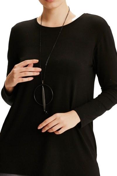 قلادة دائرية متمايلة (أسود) - Thumbnail