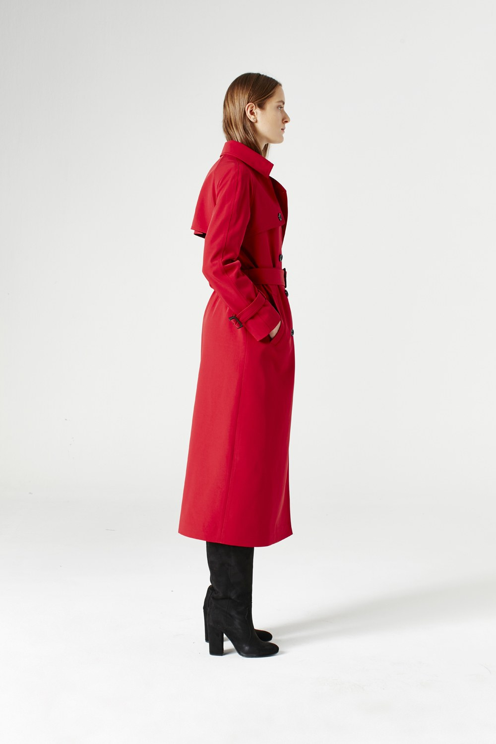 MIZALLE Powder Skirt Gabardine Trenchcoat (Claret Red) (1)