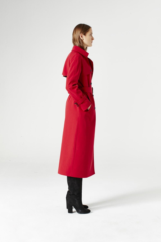 MIZALLE Gabardine Trenchcoat (Claret Red) (1)
