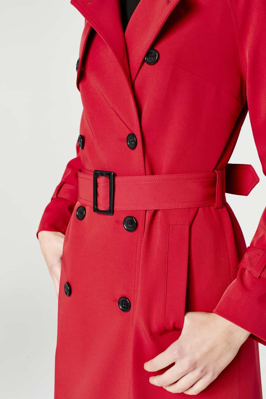 MIZALLE Powder Skirt Gabardine Trenchcoat (Claret Red) (1)
