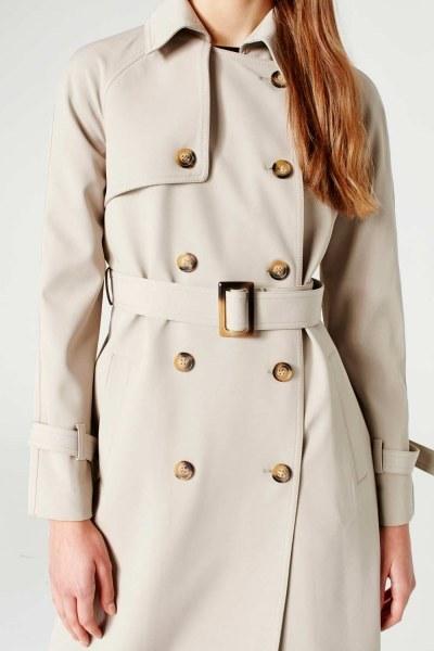 MIZALLE - Powder Skirt Gabardine Trenchcoat (Stone) (1)