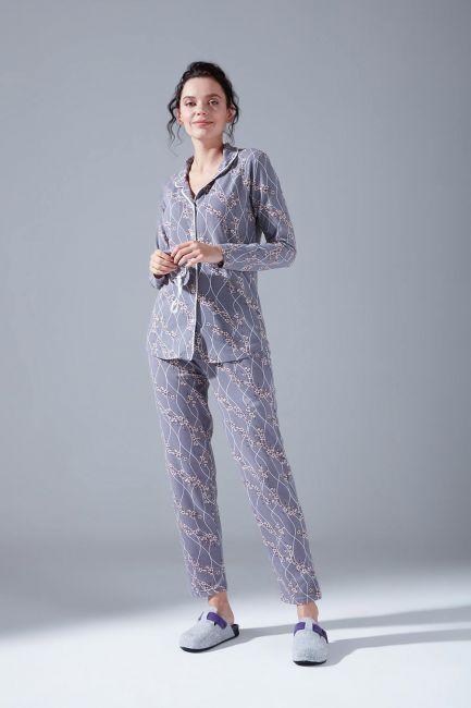 İçi Şardonlu Penye Pijama Takımı (Çiçekli) - Thumbnail