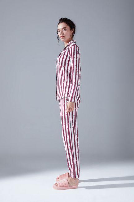 İçi Şardonlu Penye Pijama Takımı (Çizgili) - Thumbnail