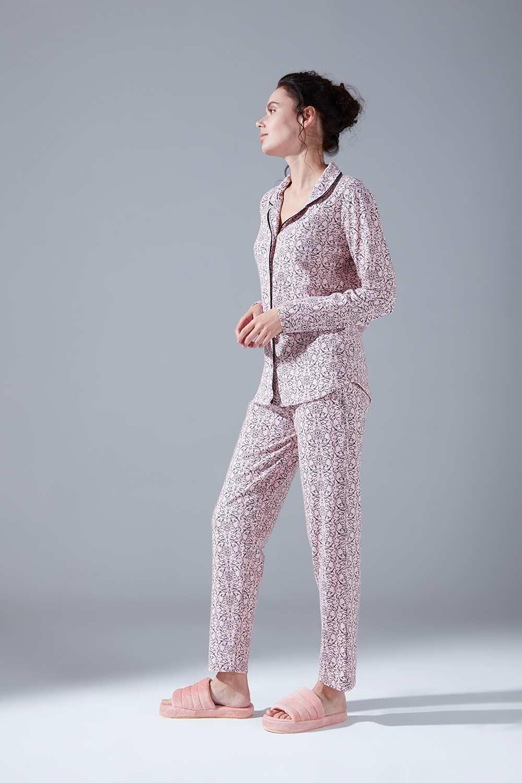 İçi Şardonlu Penye Pijama Takımı (Desenli)
