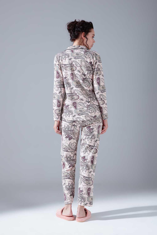 İçi Şardonlu Penye Pijama Takımı (Şal Desenli)