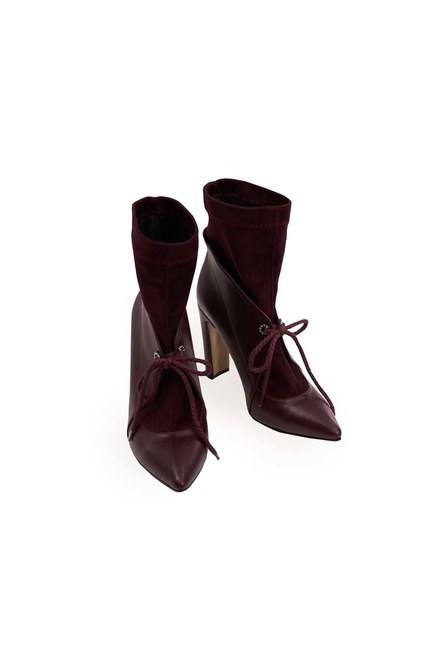 MIZALLE - Suede Detailed Heeled Boots (Claret Red) (1)