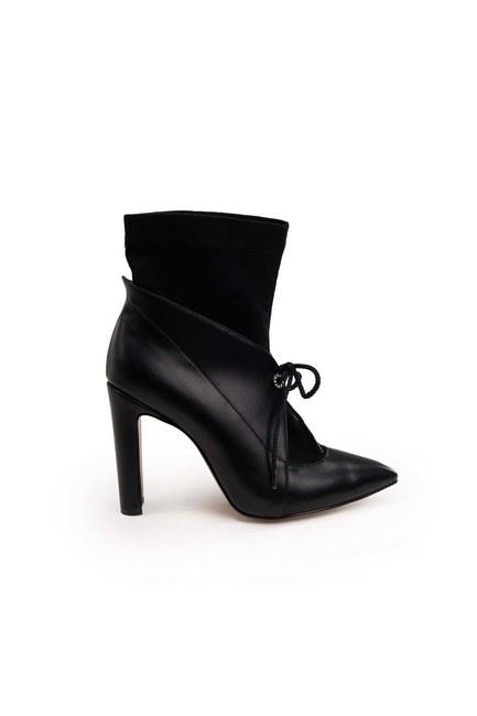 MIZALLE - İçi Süet Detaylı Topuklu Bot (Siyah) (1)