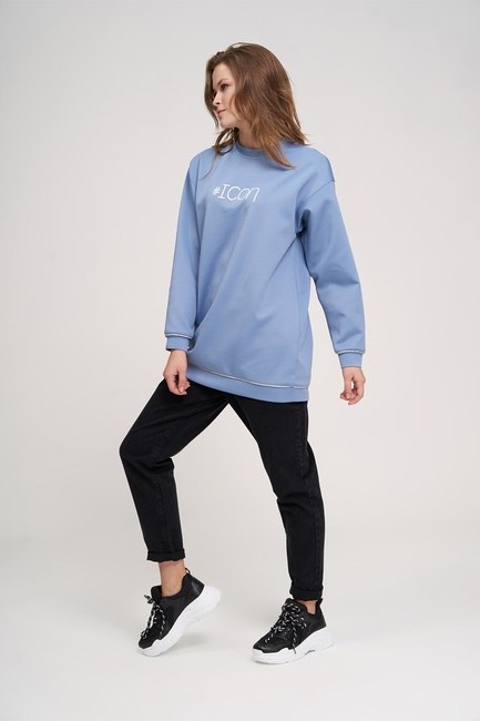 MIZALLE YOUTH - Icon Baskılı Sweatshirt (Mavi) (1)