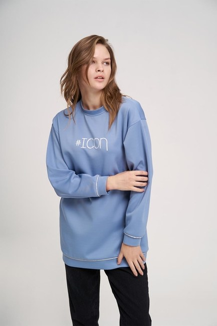 Icon Baskılı Sweatshirt (Mavi) - Thumbnail