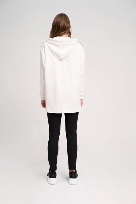 İki Çizgili Baskılı Sweatshirt (Ekru) - Thumbnail