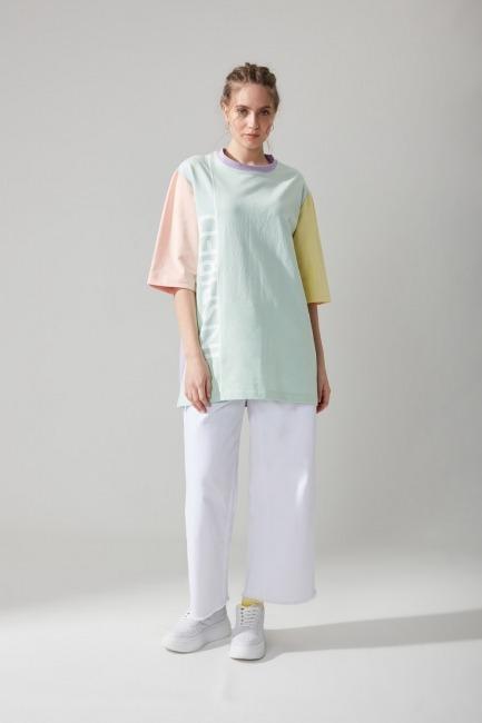 Mizalle - Yazı Baskılı Mint T-shirt