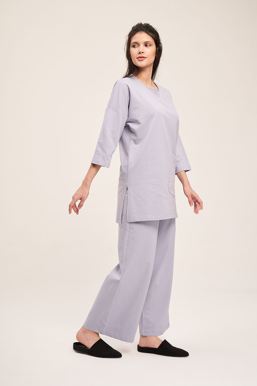 İki İplik Cepli Pijama Takımı (Lila)