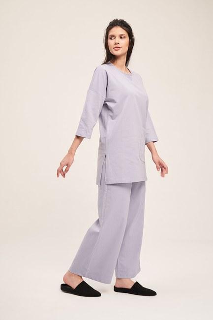 Mizalle - İki İplik Cepli Pijama Takımı (Lila)