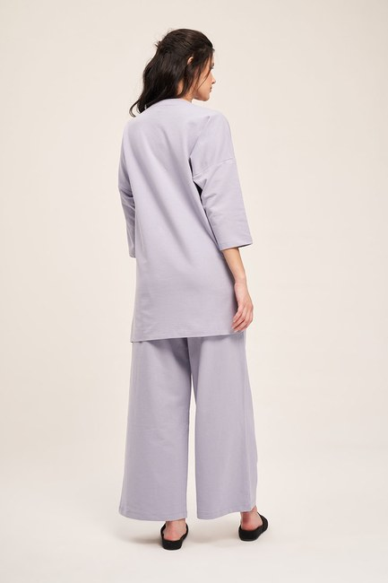 İki İplik Cepli Pijama Takımı (Lila) - Thumbnail