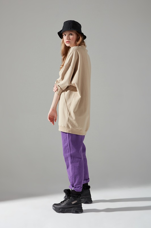 İki İplik Dikişli Sweatshirt (Bej)