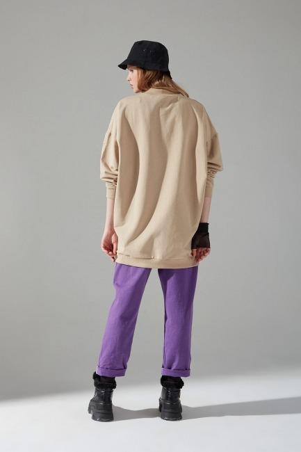 İki İplik Dikişli Sweatshirt (Bej) - Thumbnail
