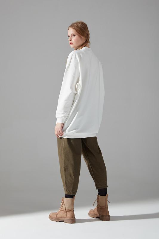 İki İplik Dikişli Sweatshirt (Ekru)