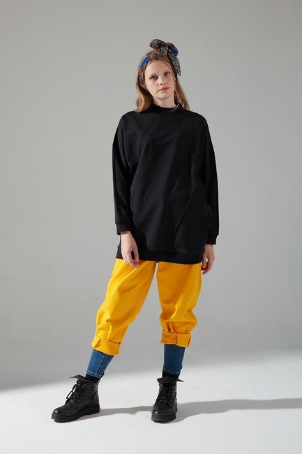 Mizalle - İki İplik Dikişli Sweatshirt (Siyah)