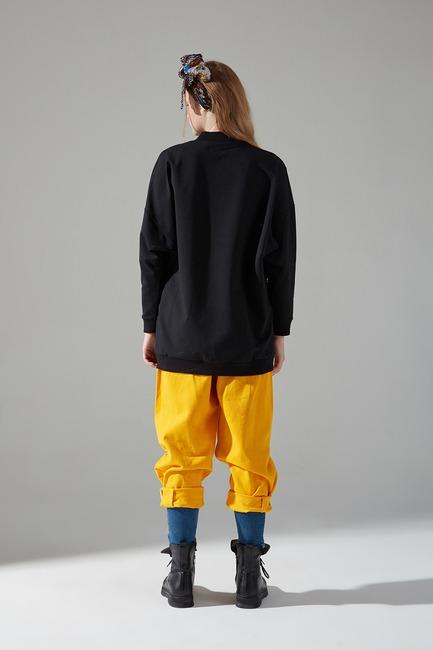 İki İplik Dikişli Siyah Sweatshirt - Thumbnail