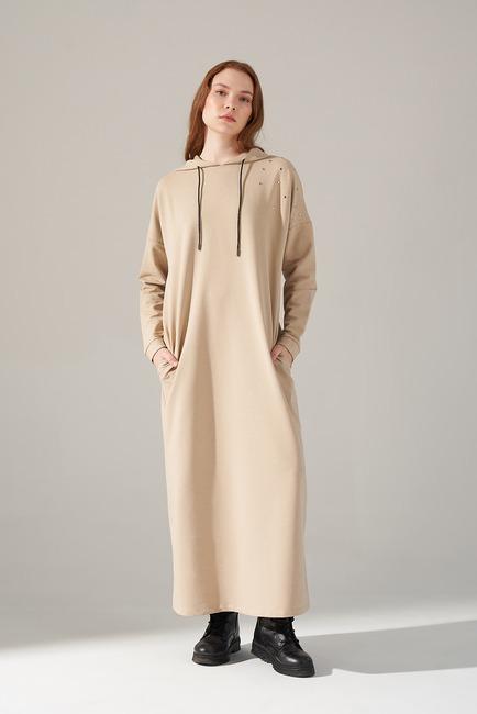 Mizalle - İki İplik Droplu Elbise (Bej)