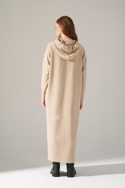 İki İplik Droplu Elbise (Bej) - Thumbnail