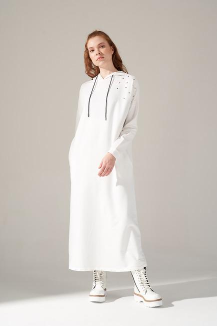 Mizalle - İki İplik Droplu Elbise (Ekru)