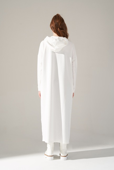 İki İplik Droplu Elbise (Ekru) - Thumbnail