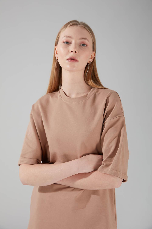 İki İplik Kısa Kol T-Shirt (Bej)
