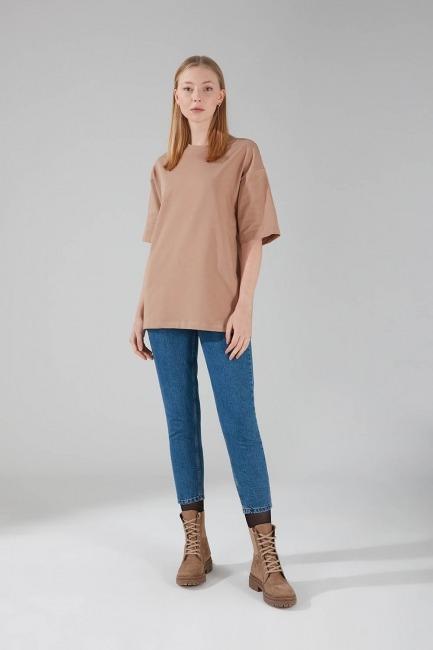 İki İplik Kısa Kol T-Shirt (Bej) - Thumbnail
