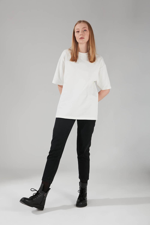 Mizalle - İki İplik Kısa Kol T-Shirt (Ekru)