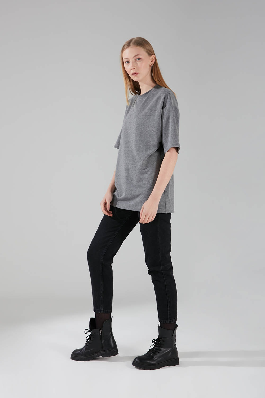 İki İplik Kısa Kol T-Shirt (Gri)
