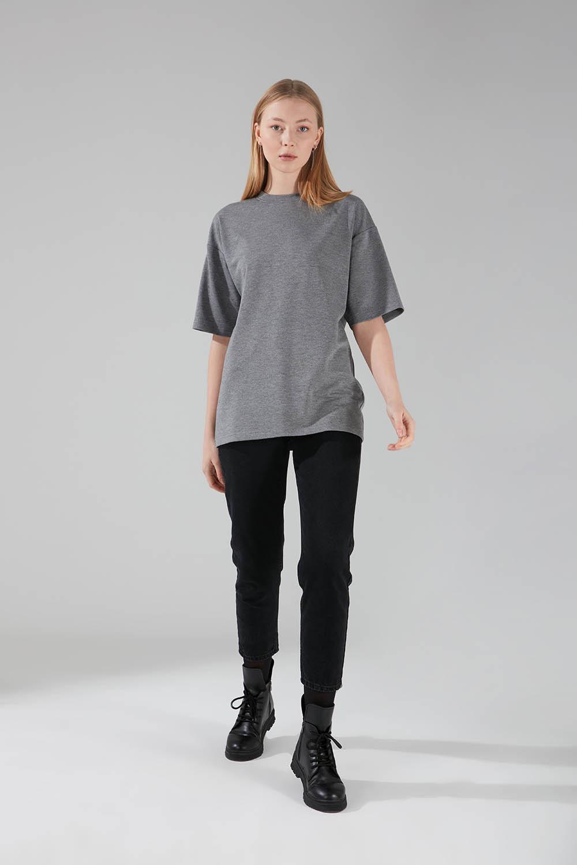 Mizalle - İki İplik Kısa Kol T-Shirt (Gri)