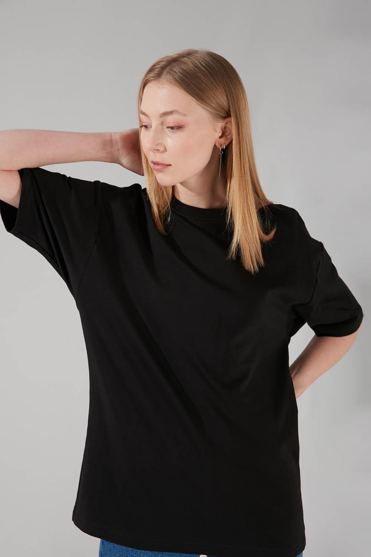 İki İplik Kısa Kol T-Shirt (Siyah)