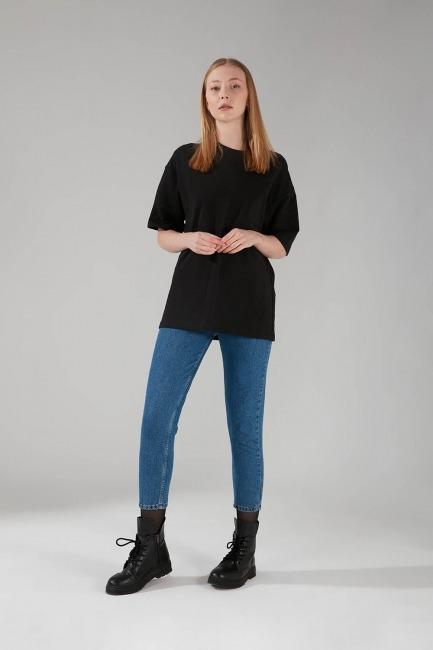 İki İplik Kısa Kol T-Shirt (Siyah) - Thumbnail