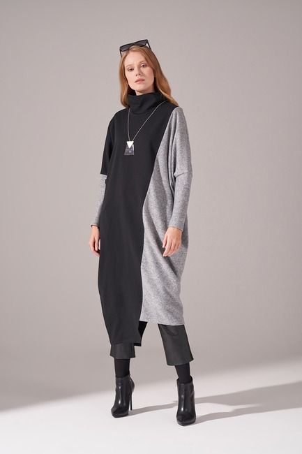 İki İplik Parçalı Elbise (Gri) - Thumbnail