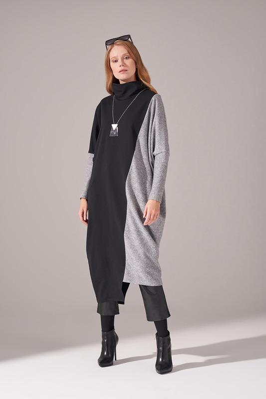 İki İplik Parçalı Elbise (Gri)