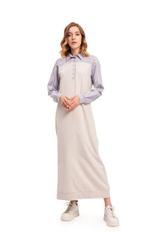 İki İplik Polo Yaka Elbise (Lila/Gri)